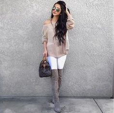perfect winter neutrals from @xoalyynicole in our Wait No More Suede Boots and @bbdakota Jory Grey Sweater. xo #LOVELULUS