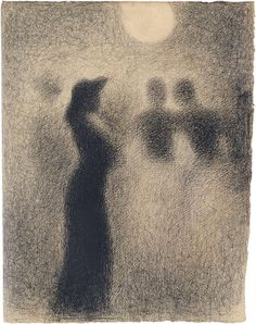 Georges Seurat , Night Stroll , conté crayon on paper, ca. 1887-88