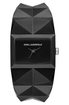 KARL LAGERFELD 'Perspektive' Pyramid Rubber Strap Watch...I like this one very much..