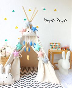 Natural Canvas Teepee with window