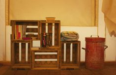 Crates are great glamping shelves - and they can double as packing boxes for the glamp gear.