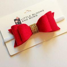 "pigtail 1.5/"" bow hair bobbles red white rudolph glitter CHRISTMAS 2 toddler"