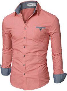 ced2cc7663f Doublju Mens Slim Fit Cotton Flannel Tailored Shirt