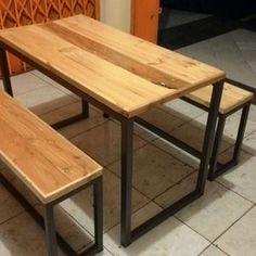Meja makan dan bangku minimalis jati belanda