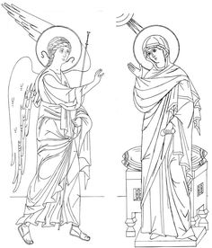 Annunciation line drawing. Religious Icons, Religious Art, Greek Icons, Fortune Cards, Byzantine Icons, Learn Art, Orthodox Icons, Christian Art, Our Lady