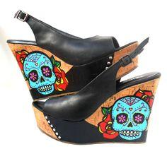 Sugar+Skulls+Cork+Platform+Wedges+Shoes++by+GabbieCustomArt,+$99.00
