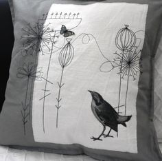 Embroidered and appliqued cushion. £17.50