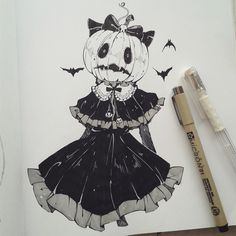 Ink drawing Pumpkin head Girl in Gothic Dress Halloween #ink #drawing #inkdrawing #pumpkin #girl #gothic #dress #halloween Goth Tattoo, Tatoo, Creepy Tattoos, Art Sketches, Art Drawings, Halloween Drawings, Halloween Art, Inktober, Goth Art