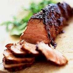 Asian Barbecued Pork    Adding a little bit of soy sauce and chili garlic sauce give this pork a tangy Asian flavor. And pork tenderloin is so lean, you can enjoy a serving for less than 200 calories and only 5 grams of fat.
