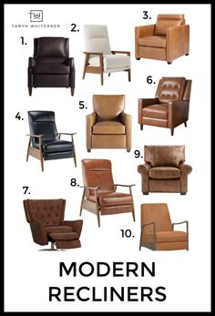 Recliners can still be trendy and design oriented! Check out these modern recliner options for your own living room! Eclectic Living Room, Living Room Designs, Living Room Decor, Living Rooms, Rooms Home Decor, Diy Home Decor, Cognac Leather Sofa, Drum Coffee Table, Modern Recliner