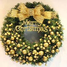 2016 40cm Merry Christmas Wreath Garland Window Party Tree Hoom Christmas Decorations Bowknot Ornaments R086