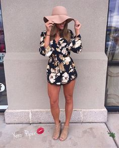 Floral Romper With Peep Toe Booties #cruiseoutfitsnight