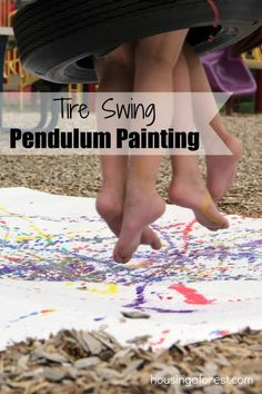 Tire Swing Pendulum Painting ~ My kids loved this! Fun summer activity for the park.