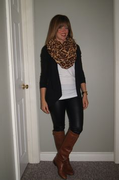 #OOTD Leather Leggings, #SITC Leopard Scarf, Riding Boots & White Tee ~ Casual Fall Style ~ http://sextoninthecity.ca/leather-leggings-2/