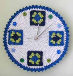 Crochet wall clock with granny squares and buttons