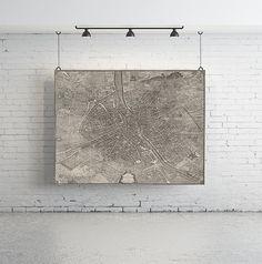 58 x 46  Vintage Map Large Print of Plan de Turgot by anewalldecor