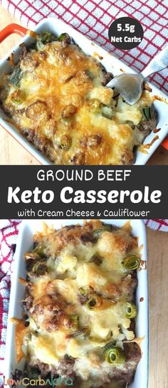 Ground beef cheesy casserole. Delicious and simple low carb recipe with cauliflower the whole family will love #lowcarb #keto #casserole #lowcarbalpha Keto Cauliflower Casserole, Keto Casserole, Casserole Dishes, Cheesy Cauliflower, Cauliflower Recipes, Casserole Recipes, Ketogenic Recipes, Low Carb Recipes, Healthy Recipes