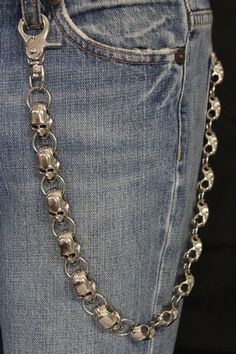 Silver Metal Long Wallet Chains KeyChain Big Skulls Skeleton Biker Motorcycle Jeans New Men style