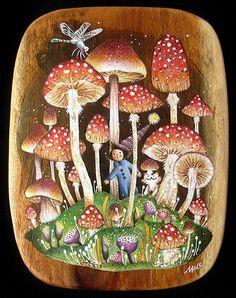 Babu & his kitten Abu: Mushroom Land I painted this artwork for my 2007 group art show, Bear and Bird Boutique + Gallery in South Florida, USA. Mushroom Drawing, Mushroom Art, Ecole Art, Fairytale Art, Plant Illustration, Fairy Land, Fairy Tales, Fungi, Painted Rocks