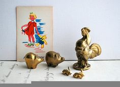 Vintage Lot of Brass Rooster Pigs and Bunnies by honeyandsea