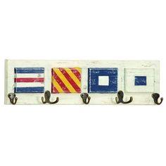 "Enterprises Wood and Metal Nautical Flag Wall Hook Rack (WD MTL Nautical Wall Hook 25""W, 6""H), Blue (Iron)"