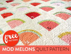 WATERMELONS!! I think if enough of us shout those words it will magically become summer. Now...SHOUT!Did you do it? You did?? haha what a weirdo ;)Maybe our second best option is to make a watermelon quilt that we can cozy up with, close our eyes, and dream of chirping crickets, warm breezes and the cool …