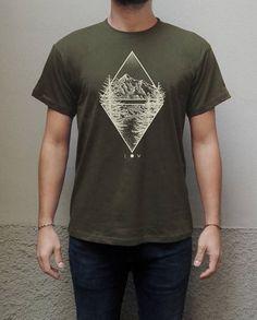 Mountains and Lake geometric T-shirt Screen Printed Hand Printed Men T-shirt Unisex 100% organic cotton military green