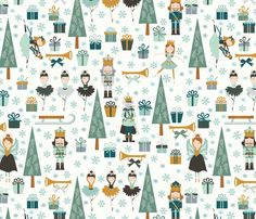 the nutcracker in cream fabric by oliveandruby on Spoonflower - custom fabric