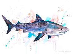 Draw Sharks Tiger shark watercolor painting print by Slaveika Aladjova Watercolor Tiger, Watercolor Ocean, Tattoo Watercolor, Animal Paintings, Animal Drawings, Painting Prints, Watercolor Paintings, Watercolor Images, Watercolours