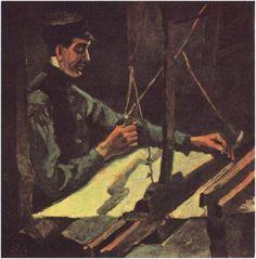 Tejedor mirando hacia la derecha (Media figura)  Vincent van Gogh Pinturas, Óleo sobre tela Nuenen: enero, 1884 Colección H. R. Hahnloser Berna, Suiza, Europa F: 26, JH: 450