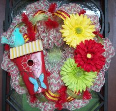 Birdhouse Wreath with or without the bluebird by myfriendbo, $75.00