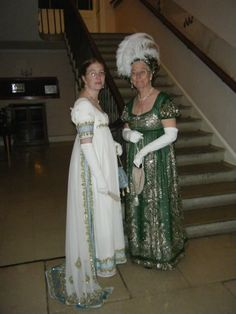 I'd love a Regency ballgown like the one on the left . ..