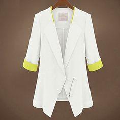 YiLuo Korean Style Large Size Slim 1/2 Length Sleeve Blazer  (White) – GBP £ 14.59