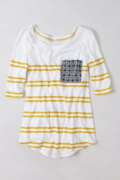 Stripe shirt with cute pocket