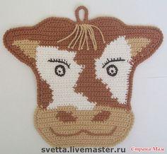Прихватки и закладки. - Вязание - Страна Мам Crochet Cow, Filet Crochet, Cute Crochet, Crochet Crafts, Crochet Coaster Pattern, Crochet Patterns, Apron Patterns, Dress Patterns, Crochet Potholders