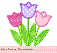 Cute Tulips Applique -4x4 5x7 6x10-Machine Embroidery Applique Design