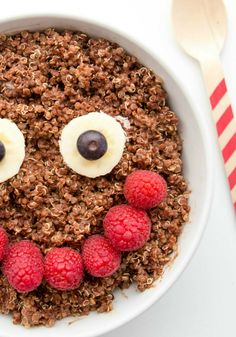 Chocolate Quinoa Healthy Breakfast Bowl -- Finding a healthy breakfast for kids can be tricky. You want it to be full of nutrients, but at the same time actually taste good. This recipe does both. | Yuri Elkaim