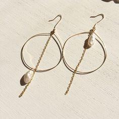 Fresh Water Pearl Hoop Chain Earrings