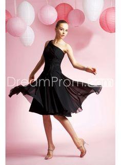 A-Line one-shoulder Sleeveless  mini Bridesmaid Dress BM-0151