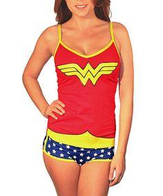 Red Glow-In-The-Dark Wonder Woman Camisole & Briefs - Women