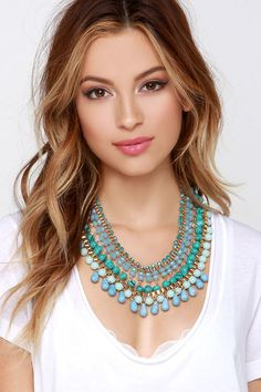 River Deep Turquoise Statement Necklace at Lulus.com!