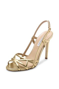Upton Strappy Heel In Gold | SS 2014 | DVF | cynthia reccord