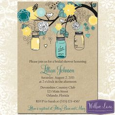 Mason Jar Bridal Shower Invitation  Mason by WillowLaneStationery