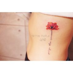 poppy flower lettering tattoo