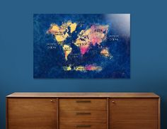 Discover «world map 13», Numbered Edition Aluminum Print by Justyna Jaszke - From $59 - Curioos