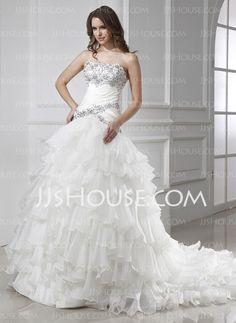 Wedding Dresses - $236.99 - Sheath/Column Strapless Chapel Train Organza Satin Wedding Dresses With Ruffle Beadwork (002015455) http://jjshouse.com/Sheath-Column-Strapless-Chapel-Train-Organza-Satin-Wedding-Dresses-With-Ruffle-Beadwork-002015455-g15455