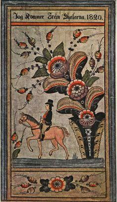 """Ryttare/Horseman. """"Jag kommer från Dalarna"""" ( I come from Dalecarlia). Folk-art. 1820 by Snarf Anders Andersson"""