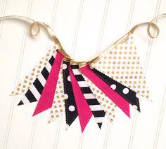 Metallic Gold Fuchsia Pink Black and White Fabric by pearlandjane