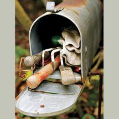 Vieille boite aux lettres recyclée en range outils de jardin.