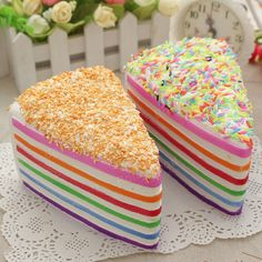 14x9x8cm Squishy Rainbow Cake Simulation Super Slow Rising Fun Gift Toy Decoration Sale - Banggood.com